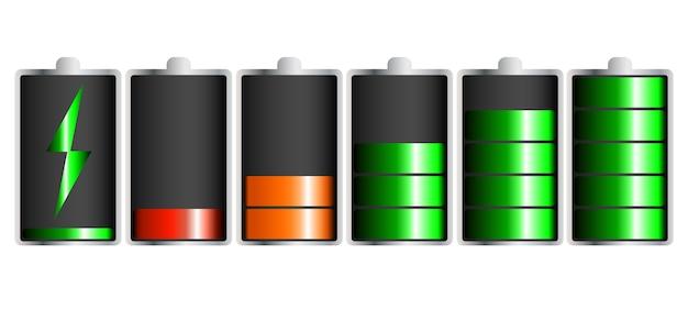 Ontladen en volledig opgeladen batterij-smartphone Premium Vector