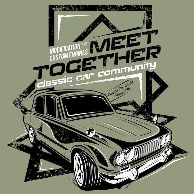 Ontmoet elkaar, illustratie van de oldtimergemeenschap Premium Vector