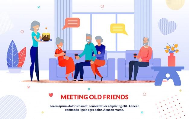 Ontmoeting van oude vrienden en partij illustratie Premium Vector