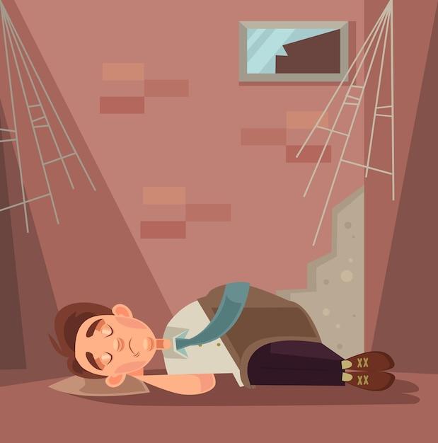 Ontslagen kantoormedewerker karakter slapen op straat cartoon afbeelding Premium Vector