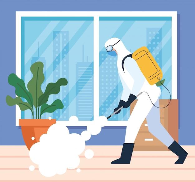 Ontsmetting van het huis door commerciële desinfectieservice, ontsmettingsmedewerker met beschermend pak en spray voorkomen covid 19 illustratieontwerp Premium Vector