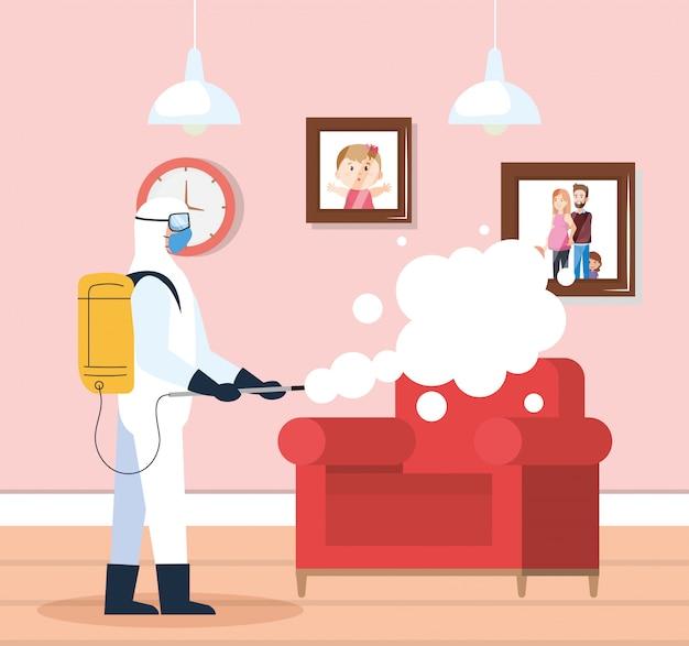 Ontsmetting van het huis door commerciële desinfectieservice, ontsmettingsmedewerker met beschermend pak en spray voorkomen covid 19 in woonkamerhuis Premium Vector