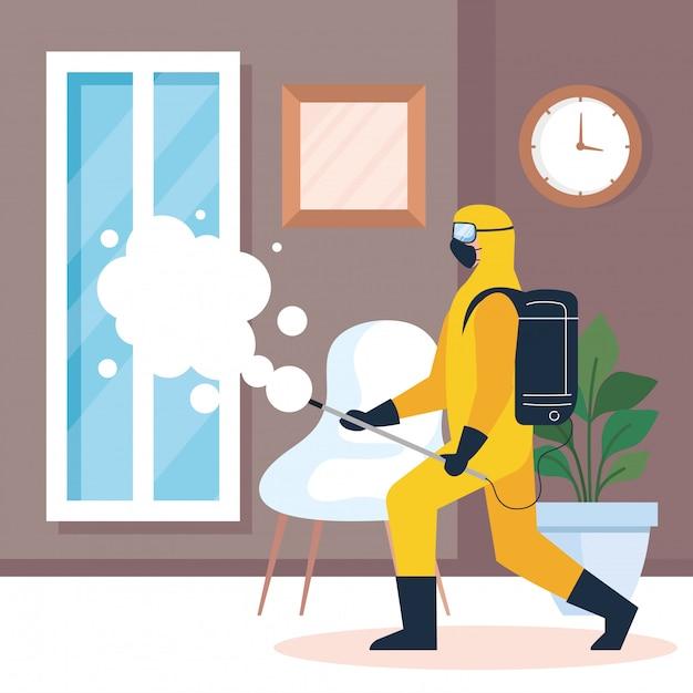 Ontsmetting van het huis door commerciële desinfectieservice, ontsmettingsmedewerker met beschermend pak Premium Vector
