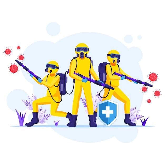 Ontsmettingsmiddelenteam in hazmat-pakken sprays die de illustratie van de coronaviruscellen reinigen en desinfecteren Premium Vector