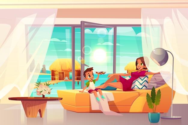 Ontspannend in luxe resort hotelkamer cartoon vector. Gratis Vector