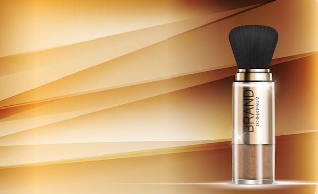 Ontwerp cosmetica product poeder sjabloon achtergrond. realistisch 3d Premium Vector