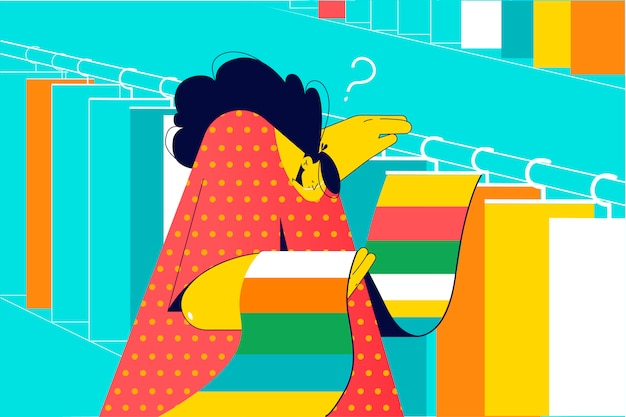 Ontwerp, decoratie, keuze, winkelen, werkconcept. jonge nadenkend doordachte vrouw ontwerper decorateur karakter kiest stoffen voor gordijnen of kussens in textielwinkel. selectiemateriaal of vloerbedekking Premium Vector