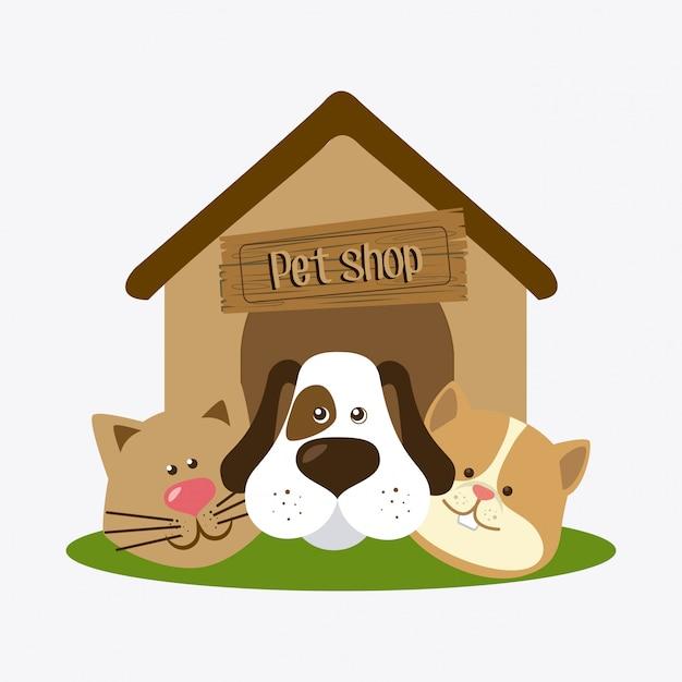 Ontwerp dierenwinkel. Gratis Vector