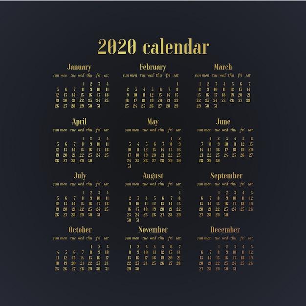 Ontwerp eenvoudig de bureaukalender van het jaarsjabloon 2020. Premium Vector