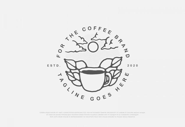 Ontwerp eersteklas natuurlijke koffie met lijnstijllogo Premium Vector