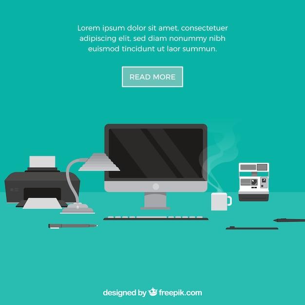 Ontwerp elementen achtergrond met office Gratis Vector