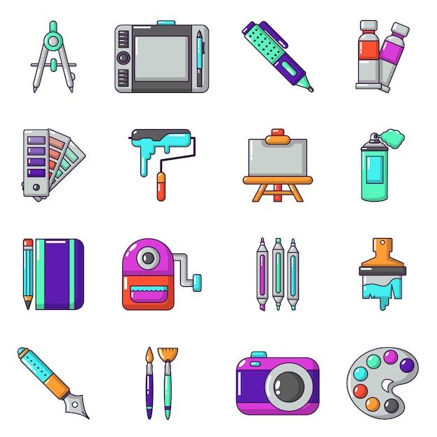Ontwerp- en tekengereedschappen pictogrammen instellen Premium Vector