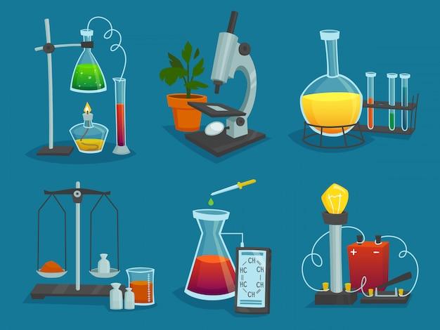 Ontwerp icons set van laboratoriumapparatuur Gratis Vector