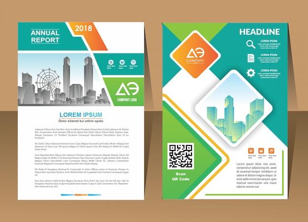 Ontwerp jaarverslag dekking vector sjabloon brochures flyers Premium Vector