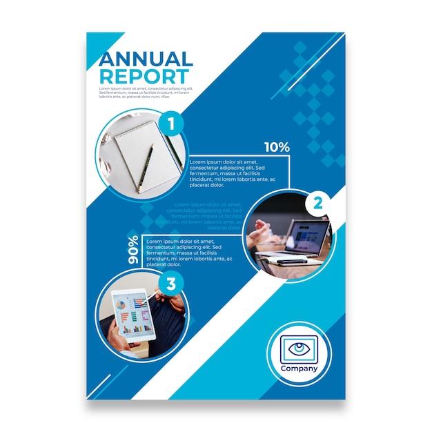 Ontwerp jaarverslag met digitale apparaten Premium Vector