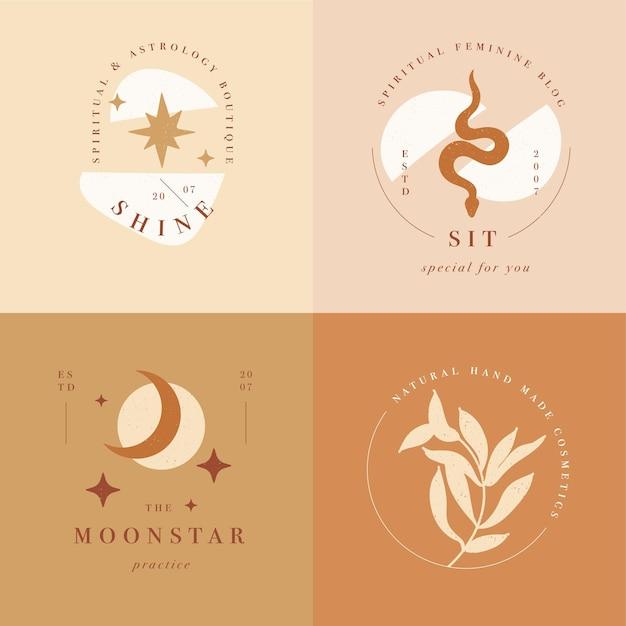 Ontwerp lineaire sjabloonlogo's of emblemen - mysterie boho-stijl. abstract symbool voor handgemaakte producten en ambachtelijke boetieks. Premium Vector