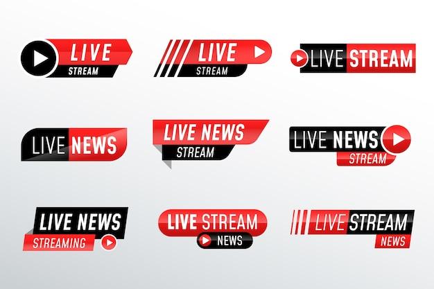 Ontwerp live streams nieuwsbanners Gratis Vector