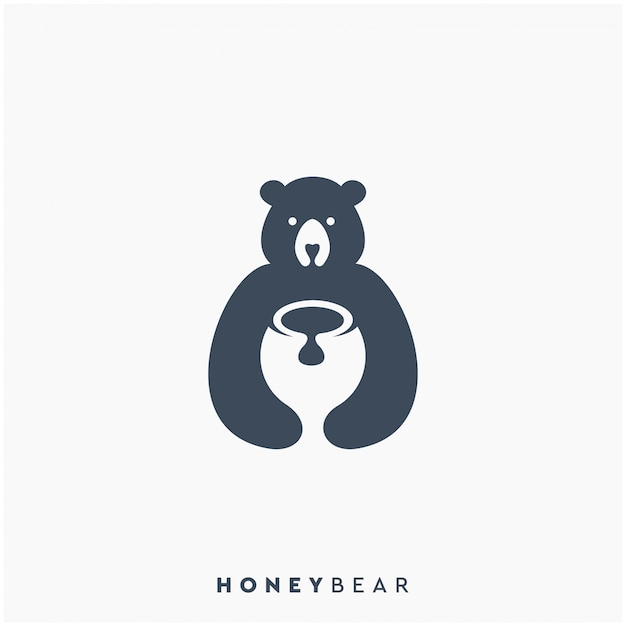 Ontwerp met honey bear-logo Premium Vector