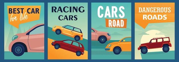 Ontwerp met kleurrijke posters met stijlvolle auto's. Gratis Vector