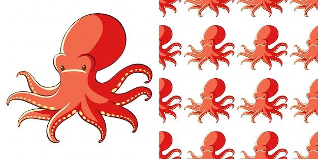 Ontwerp met naadloze patroon octopus Gratis Vector