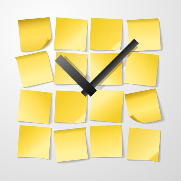 Ontwerp met papieren klok met stickers Gratis Vector