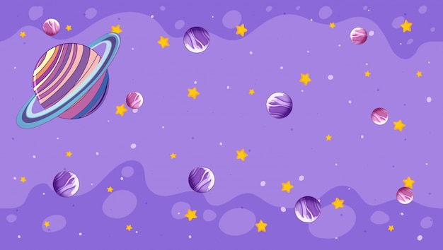 Ontwerp met planeten op paars Gratis Vector