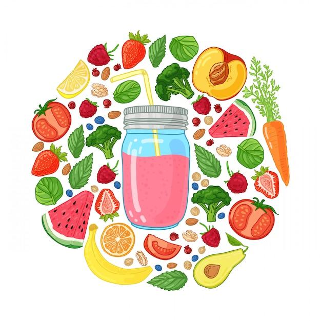 Ontwerp met smoothiekruik en en ingrediënten decoratie met fruit, groenten en kruiden Premium Vector