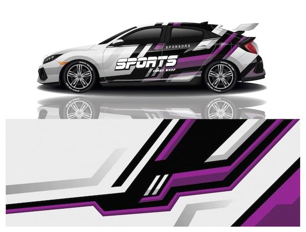 Ontwerp met sticker voor sportwagenverpakking Premium Vector