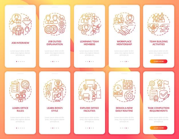 Ontwerp nieuwe dagelijkse routine onboarding mobiele app-paginaschermen Premium Vector