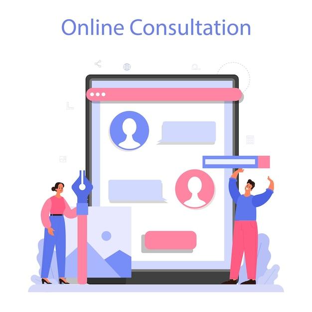 Ontwerp online service of platform. grafisch, web, printontwerp. digitaal tekenen met elektronische gereedschappen en apparatuur. online consult. vlakke afbeelding vector Premium Vector