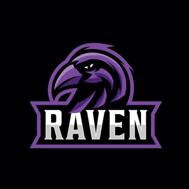 Ontwerp raven logo voor gaming sport Premium Vector