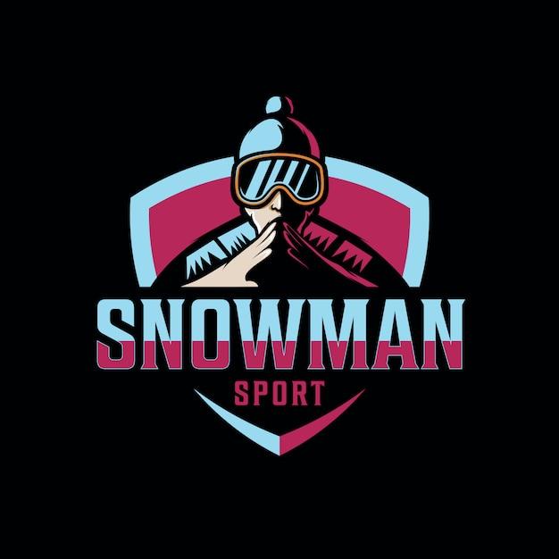 Ontwerp sneeuwman logo voor gaming sport Premium Vector