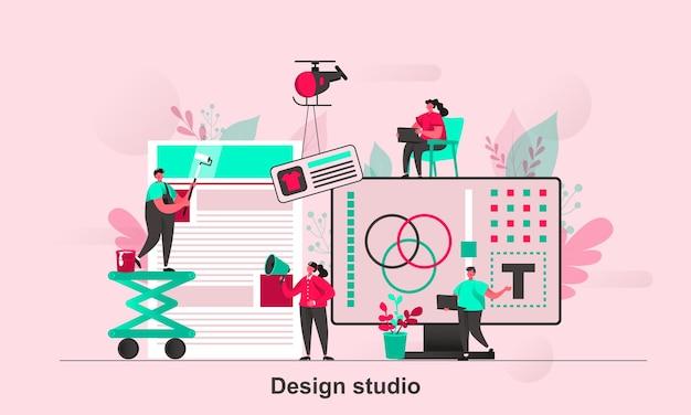 Ontwerp studio webconceptontwerp in vlakke stijl met karakters van kleine mensen Premium Vector