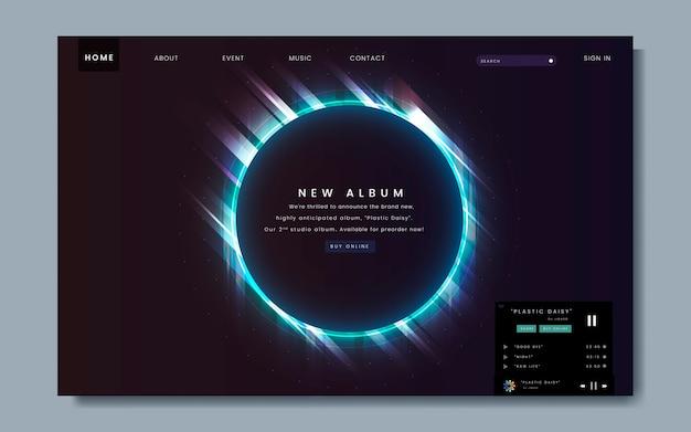 Ontwerp van album-release-website Gratis Vector
