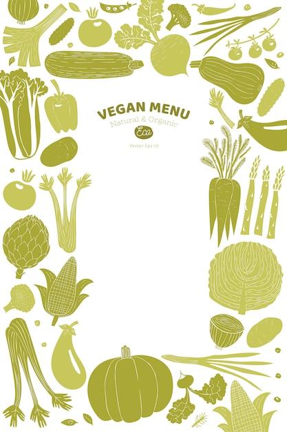 Ontwerp van beeldverhaal het hand getrokken groenten. linosnede stijl. gezond eten. vector illustratie Premium Vector