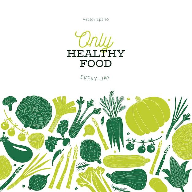 Ontwerp van beeldverhaal het hand getrokken groenten. voedsel achtergrond. linosnede stijl. gezond eten. vector illustratie Premium Vector