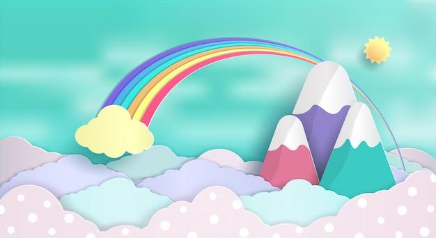 Ontwerp van concepten en regenbogen die in de lucht zweven. en een mooie pastelwolken. Premium Vector