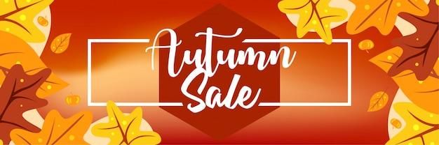 Ontwerp van de banner van de herfst verkoop Premium Vector