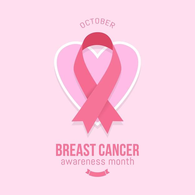 Ontwerp van de banner van de voorlichtingsmaand van borstkanker met roze lint Premium Vector