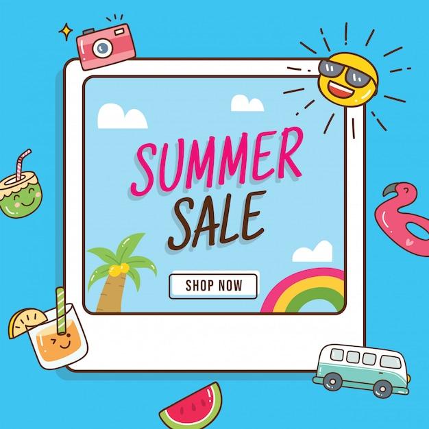 Ontwerp van de banner van de zomer verkoop met doodle elementen Premium Vector