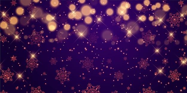 Ontwerp van de banner van kerstmis met sterren en bokeh lichten Gratis Vector