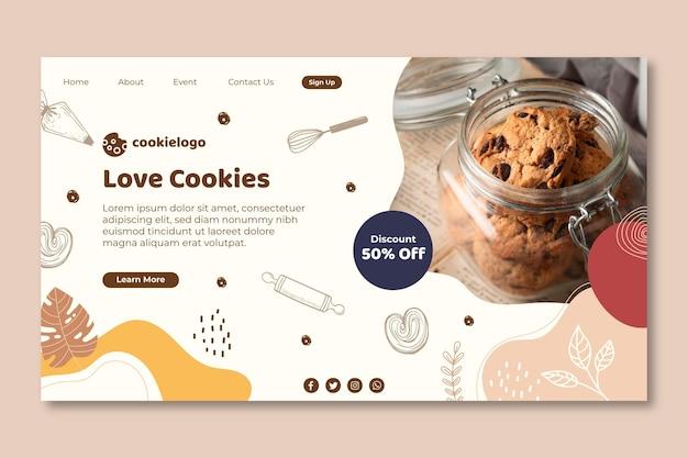 Ontwerp van de bestemmingspagina van cookies Gratis Vector