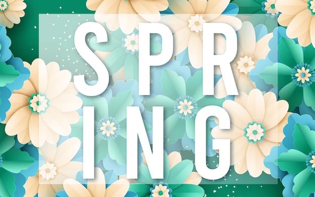 Ontwerp van de de banner het vectorverkoop van de lente met bloemen Premium Vector
