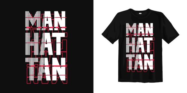 Ontwerp van de de typografiet-shirt van manhattan het abstracte Premium Vector