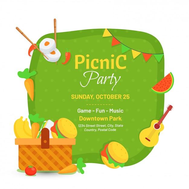 Ontwerp van de de uitnodigingskaart van de picknickpartij. Premium Vector
