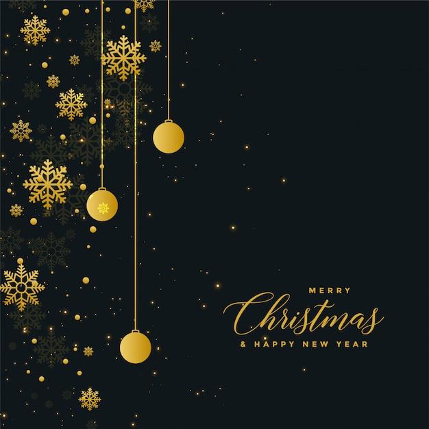 Ontwerp van de de vierings het donkere affiche van kerstmis met gouden ballen Gratis Vector