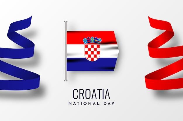 Ontwerp van de nationale dag van kroatië Premium Vector
