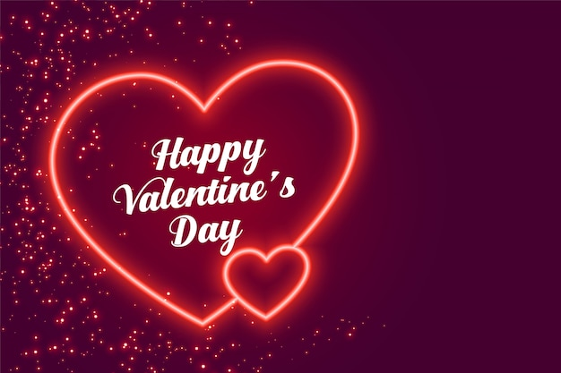 Ontwerp van de valentijnsdag van twee neonharten het gelukkige Gratis Vector