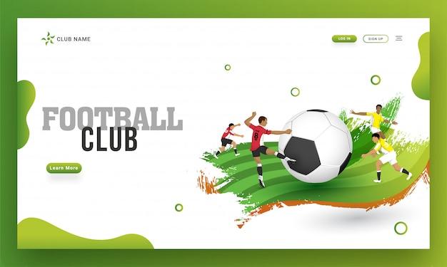 Ontwerp van de voetbalclub het landende pagina, illustratie van voetballer Premium Vector