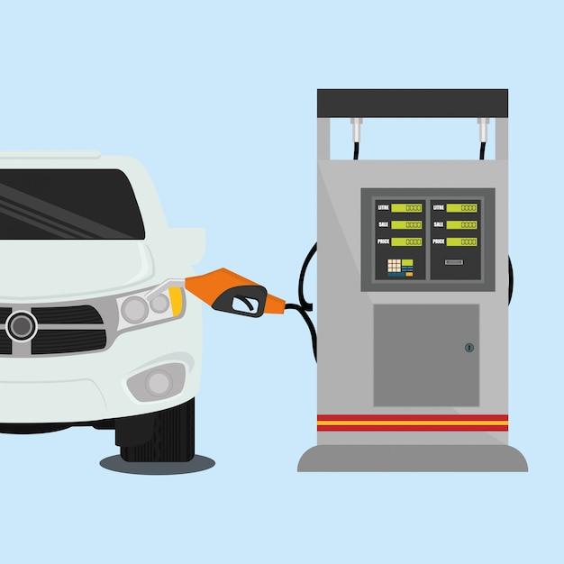 Ontwerp van het benzinestation Premium Vector